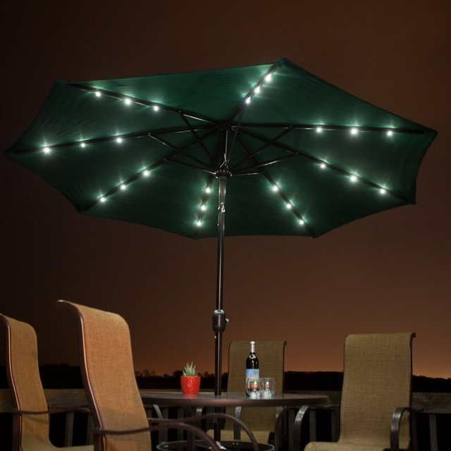solar powered patio umbrella. Black Bedroom Furniture Sets. Home Design Ideas