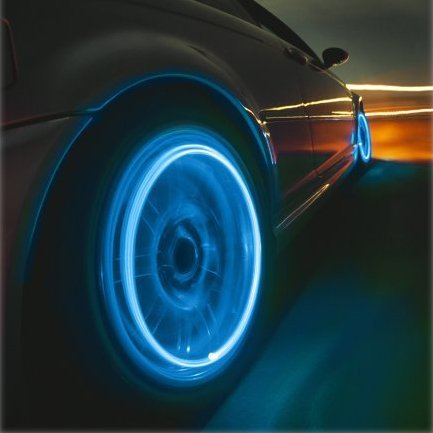 Neon Blue Strobe LED Tire Valve Caps