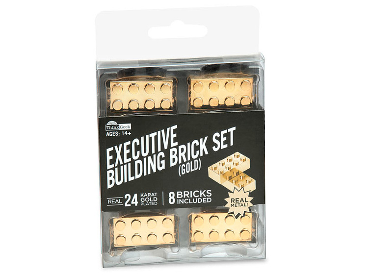 Gold Plated Metal Building Brick Set (2)