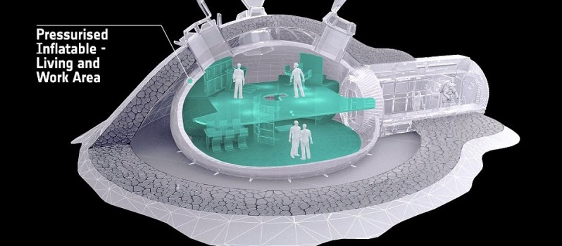 Model Of A 3D Printed Home On Moon