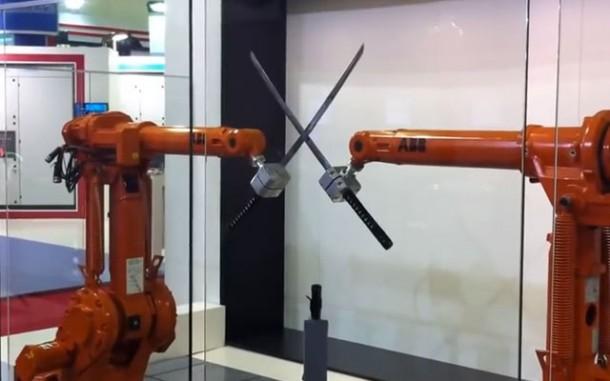 Robotic Ninjas In A Fight
