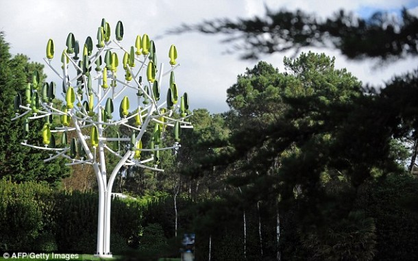Tree With Wind Turbines Generate Electricity
