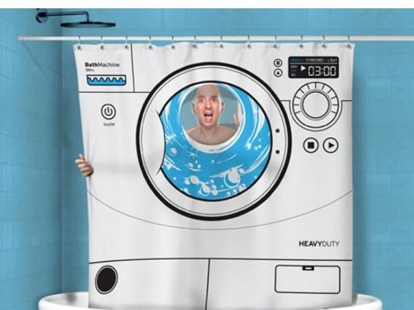 Fun Washing Machine Shower Curtain