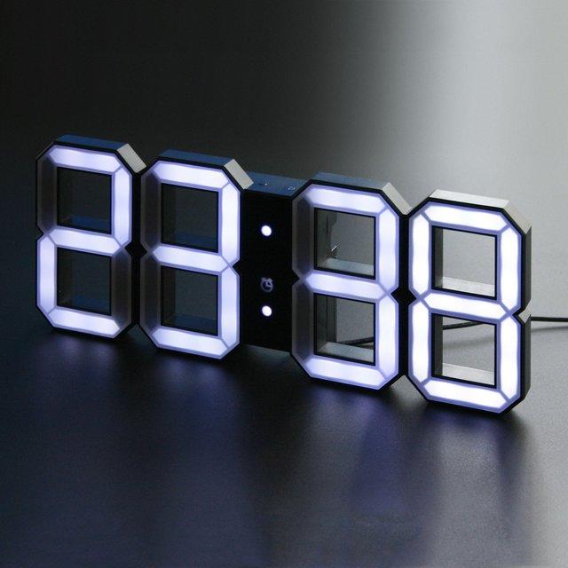 White & White Digital LED Black Edition Clock