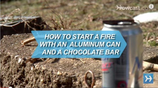 How-to-Start-a-Fire-with-an-Aluminum-Can-a-Chocolate-Bar–610×340