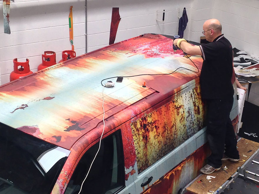 New Car Wrapped in Rust Camouflage To Protect It From Thieves