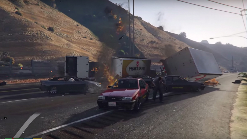 GRAND THEFT AUTO V Car Crash Escalates into Insanity