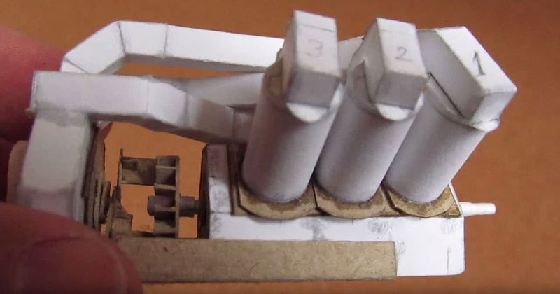 Working V6 Engine Out of Paper