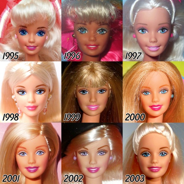 Barbie's Face Transformation Over The Years