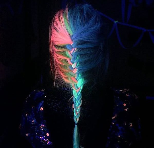 Rainbow Hair That Can Glow In The Dark Under Black Light