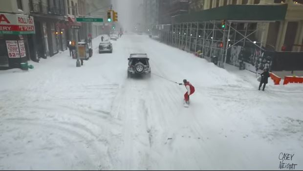 Snowboarding Through Times Square During The Blizzard 2016