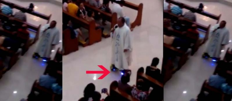 Hoverboard Riding Priest During His Mass