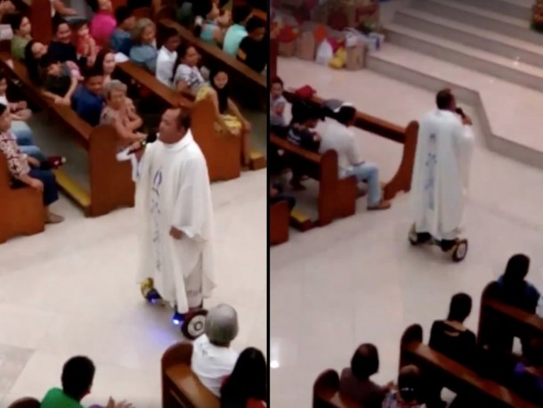 Hoverboard Riding Priest During His Mass (2)