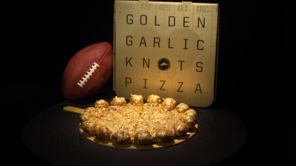 Super Bowl Pizza Hut Gold Covered Garlic Knots Pizzas