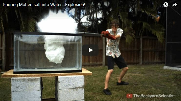 Pouring Molten Kosher Salt Into a Tank of Water