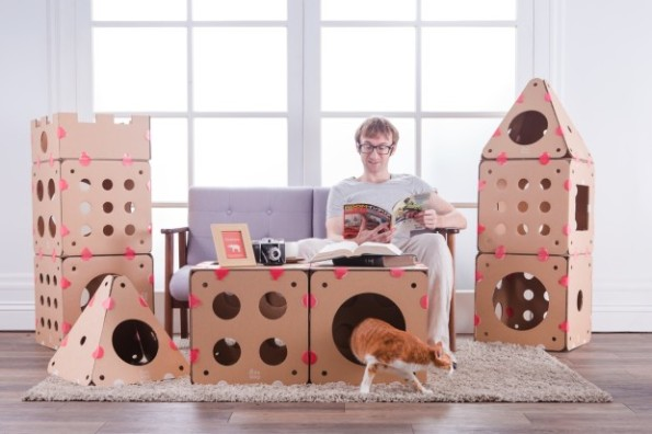 Connectable Cardboard Customizable Cat Houses