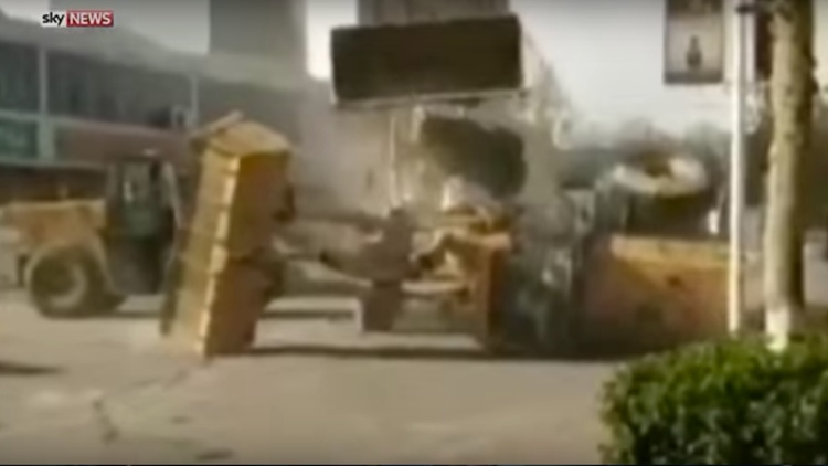 Real Life Bulldozer Battle Royale in The Streets of China