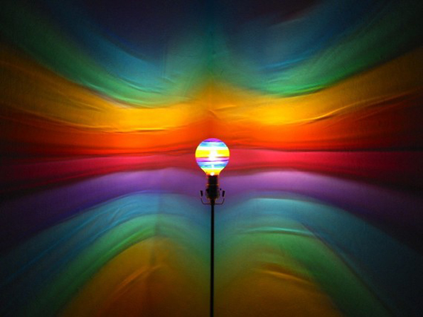 Painted Light Bulbs Shine Art Onto The Walls