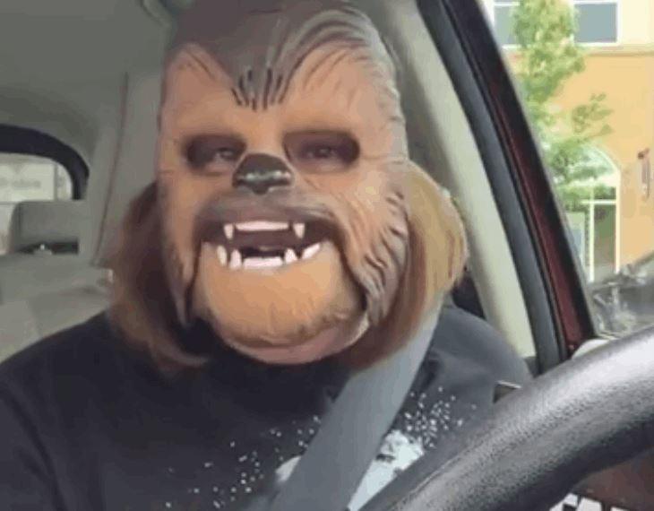 Lady Experiences True Joy Wearing A Chewbacca Mask