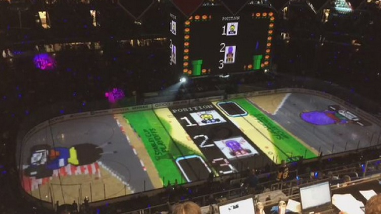 MARIO KART Projected Onto Hockey Rink