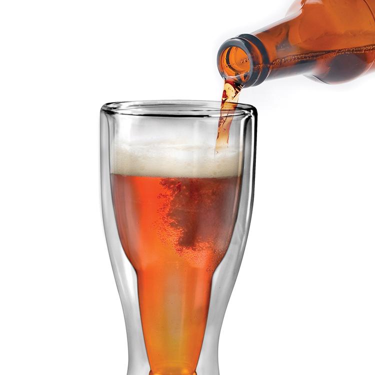 Upside Down Beer Bottle Inside of a Regular Glass