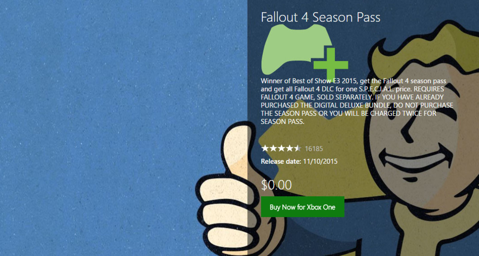 Fallout 4 Accidentally Goes Free On Xbox Store