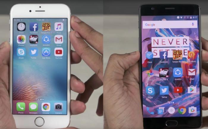 OnePlus 3 vs iPhone 6S Speedtest Comparison Video