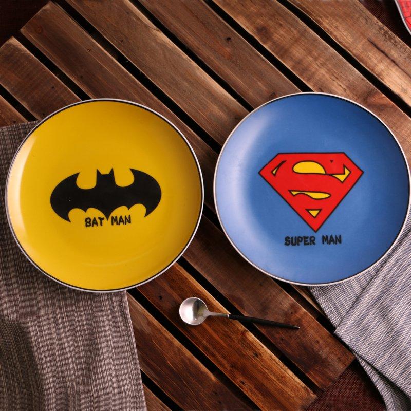Ceramic Superheroes Dessert Plates