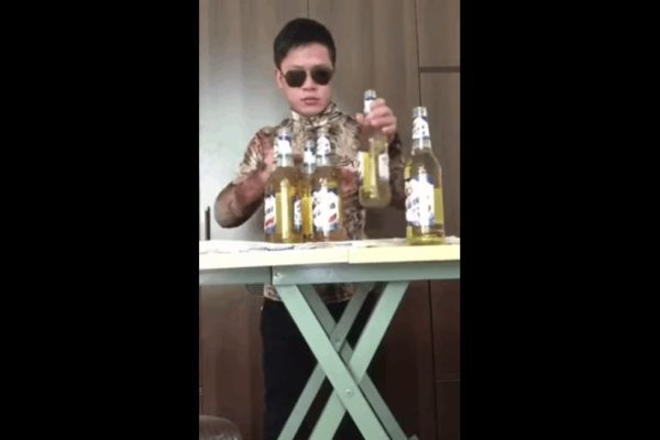 Guy Drink Six Beers Simultaneously
