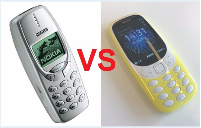 Old And New Nokia 3310