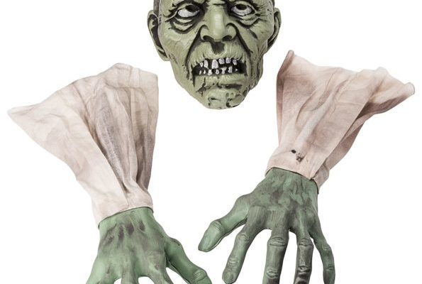"""Halloween Zombie Face and Arms Lawn Stakes Will Make The Best Halloween Graveyard Decoration ever created. Set the Perfect Horror Scene by having best Halloween decoration items for your Home, Graveyard Scenes or Halloween Party. It comes with 1 Zombie Face with 6"""" Plastic Stake, 2 Zombie Arms Covered with Sleeves."""