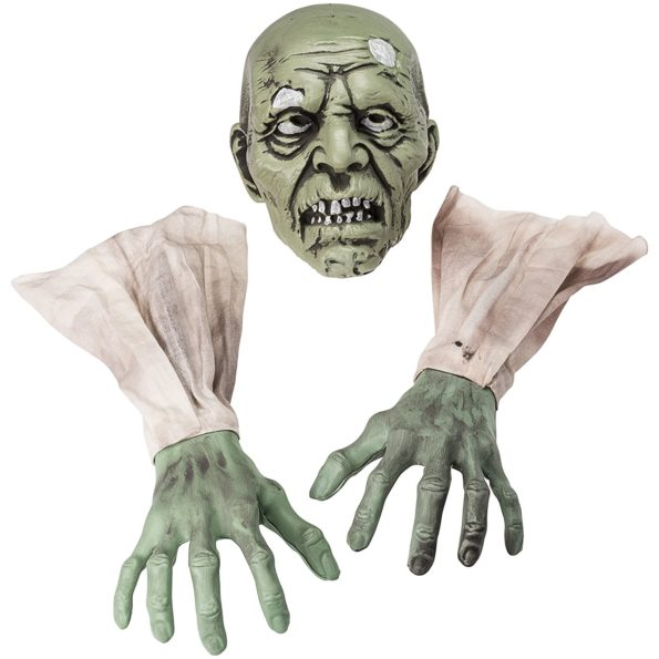 "Halloween Zombie Face and Arms Lawn Stakes Will Make The Best Halloween Graveyard Decoration ever created. Set the Perfect Horror Scene by having best Halloween decoration items for your Home, Graveyard Scenes or Halloween Party. It comes with 1 Zombie Face with 6"" Plastic Stake, 2 Zombie Arms Covered with Sleeves."