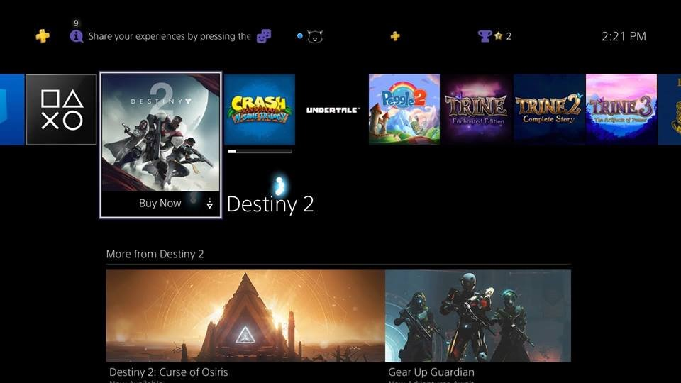 PS4 Homepage